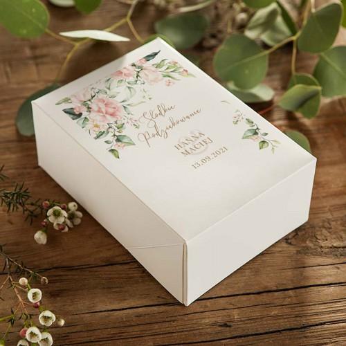 PUDEŁKA na ciasto weselne Z IMIONAMI Pudrowe Kwiaty 12szt