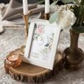 NUMEREK na stół wesele z imionami Pudrowe Kwiaty