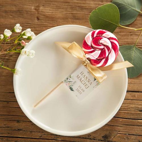 LIZAK podziękowanie dla gości kręcony Z IMIONAMI Pudrowe Kwiaty (+naklejka)