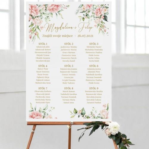 PLAN stołów personalizowany Pudrowe Kwiaty
