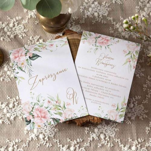 ZAPROSZENIE ślubne dwustronne Z IMIONAMI Pudrowe Kwiaty