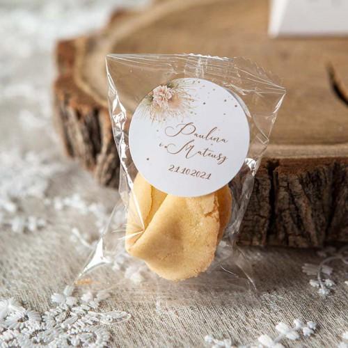 CIASTECZKO z wróżbą wesele Pampas Boho (+etykieta z imieniem)