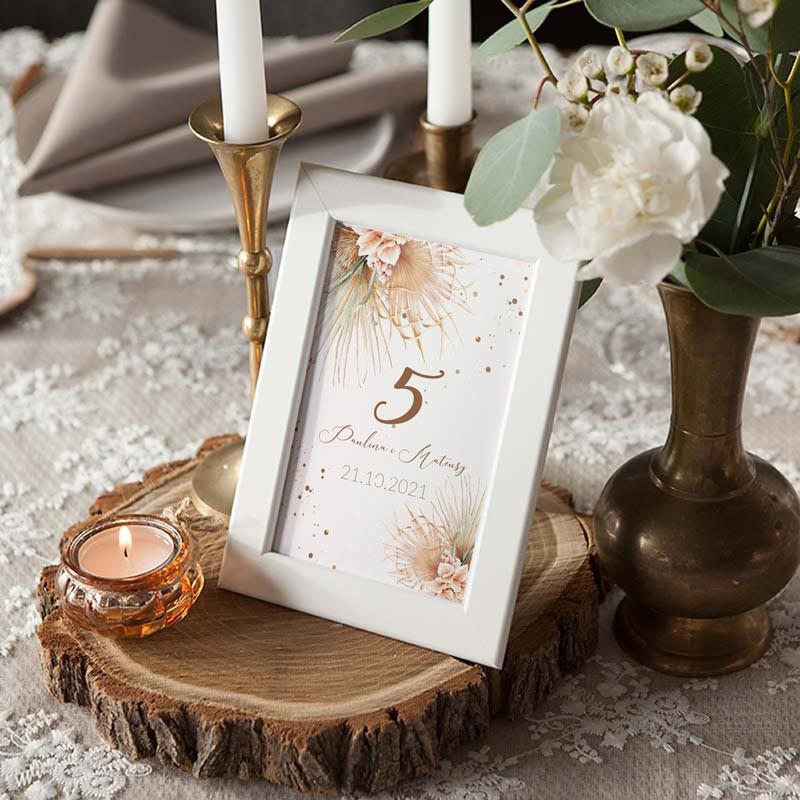 Numerek na stół weselny w stylu boho