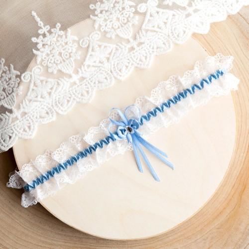 PODWIĄZKA ślubna biała z cyrkonią Błękitny Akcent (D05)
