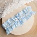 PODWIĄZKA ślubna koronkowa Błękitna (D01)