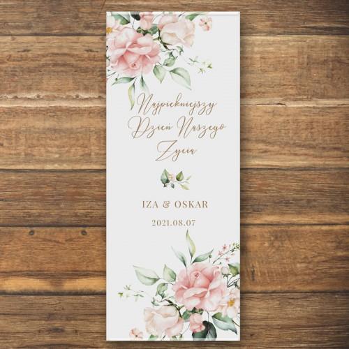 ŚCIANKA za Parą Młodą baner + listwa 60x150cm Pudrowe Kwiaty