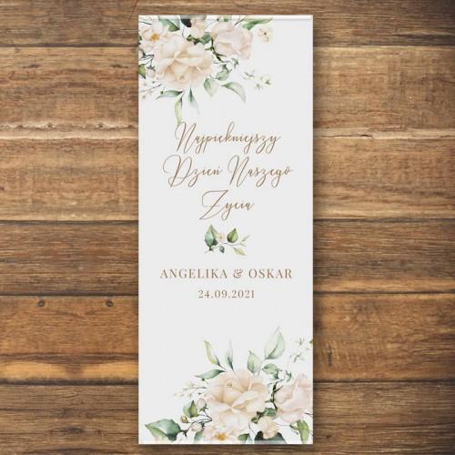 ŚCIANKA za Parą Młodą baner + listwa 60x150cm Białe Kwiaty