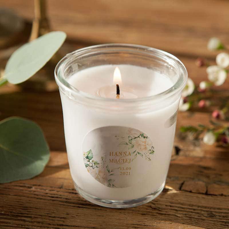 ŚWIECA zapachowa w szkle Z IMIONAMI Białe Kwiaty