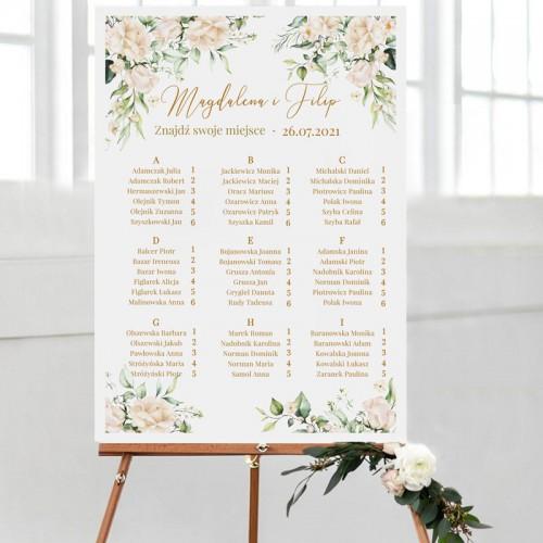 PLAN stołów personalizowany Białe Kwiaty