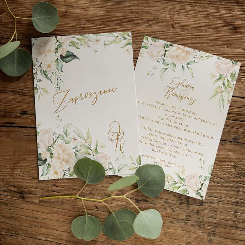 Zaproszenia ślubne z białymi kwiatami