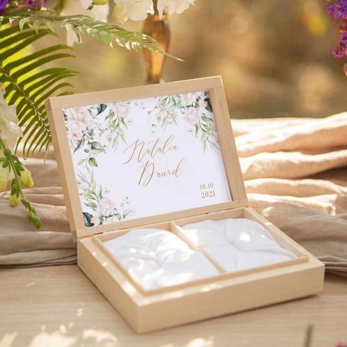 PUDEŁKO na obrączki drewniane Białe Kwiaty Z IMIONAMI
