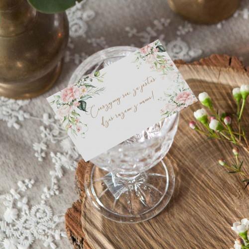 BILECIKI podziękowanie dla gości weselnych Pudrowe Kwiaty 10szt