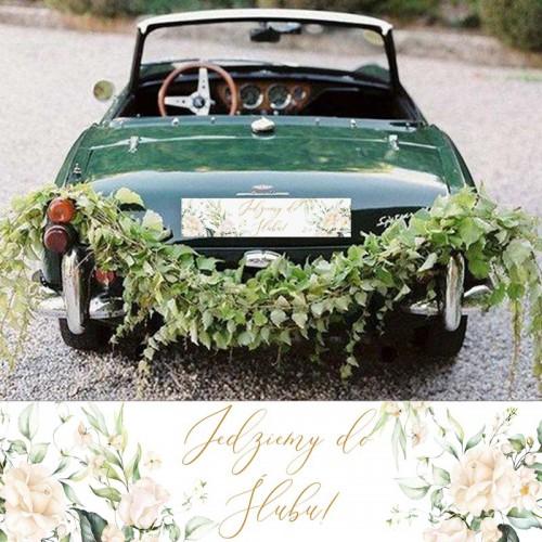 TABLICE rejestracyjne ślub Z NADRUKIEM Białe Kwiaty