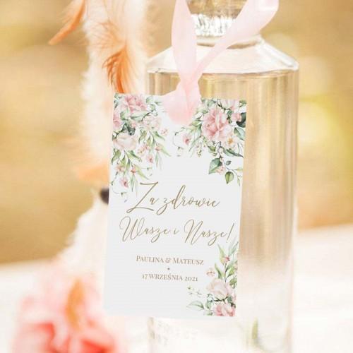 ZAWIESZKI na wódkę Z IMIONAMI Pudrowe Kwiaty 10szt