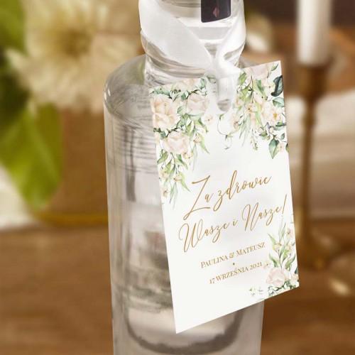 ZAWIESZKI na wódkę Z IMIONAMI Białe Kwiaty 10szt