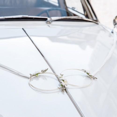 WIANUSZKI rattanowe+kokardy do dekoracji samochodu ślubnego ZESTAW