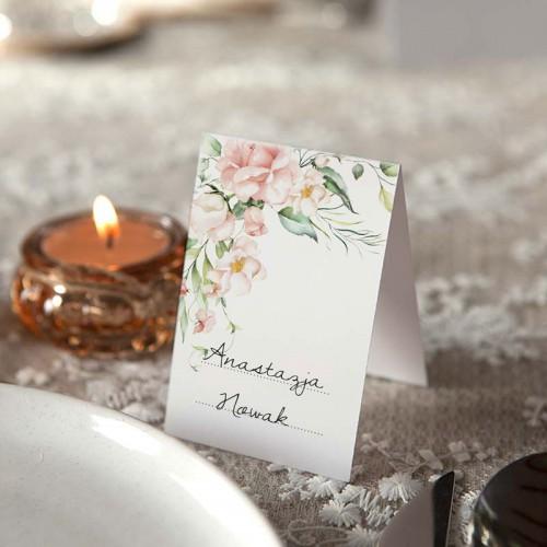 WINIETKI ślubne do wypisania Pudrowe Kwiaty 10szt