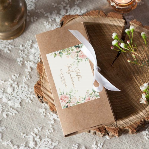 PUDEŁKO na czekoladę Z IMIONAMI Pudrowe Kwiaty