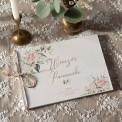 KSIĘGA PAMIĄTKOWA Wieczoru Panieńskiego Pudrowe Kwiaty Z IMIENIEM (+sznurek jutowy)
