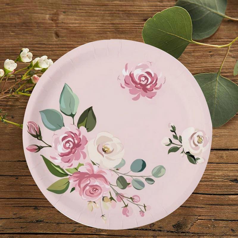 TALERZYKI na panieński Pudrowe kwiaty 6szt