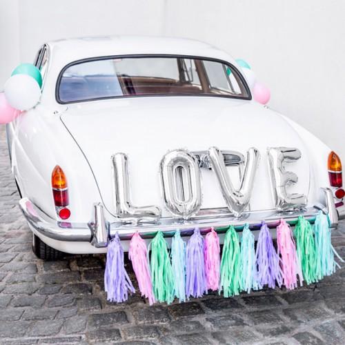 DEKORACJE na samochód ślubny ZESTAW PASTELOWY