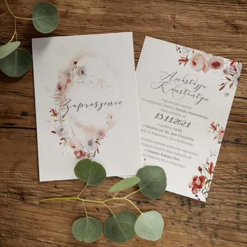 ZAPROSZENIE ślubne dwustronne Z IMIONAMI Jesienne Kwiaty