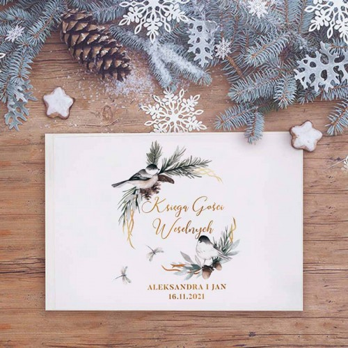 KSIĘGA GOŚCI weselnych Z IMIONAMI Zimowy Ptaszek