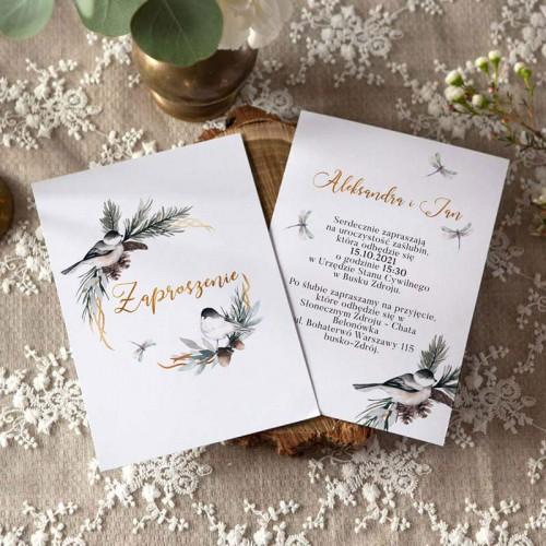 ZAPROSZENIE ślubne dwustronne Z IMIONAMI Zimowy Ptaszek