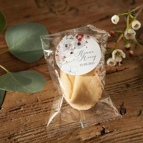 CIASTECZKA z wróżbą wesele Jesienne Kwiaty 10szt (+etykiety z imieniem)