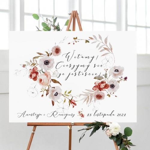 PLAKAT tablica powitalna na wesele 50x70cm Jesienne Kwiaty