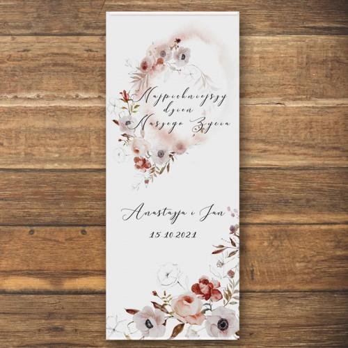 ŚCIANKA za Parą Młodą baner + listwa 60x150cm Jesienne Kwiaty