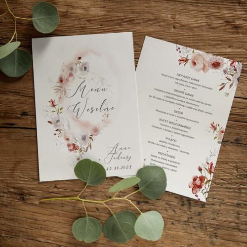 MENU weselne DWUSTRONNE Jesienne Kwiaty