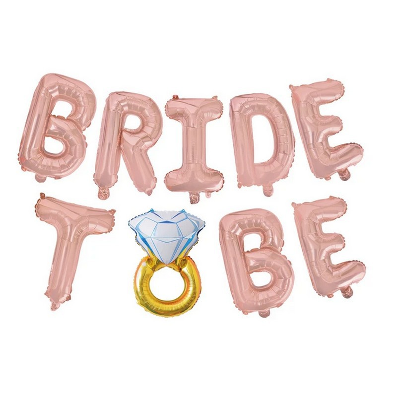 BALONY foliowe BRIDE TO BE z pierścionkiem ROSEGOLD