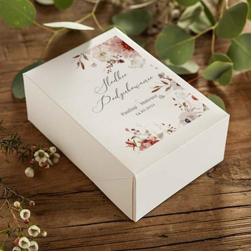 PUDEŁKA na ciasto weselne Z IMIONAMI Jesienne Kwiaty 12szt