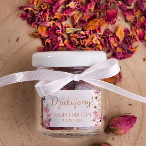 PŁATKI róż jadalne w słoiczku Z IMIONAMI na ślub i wesele (wb)