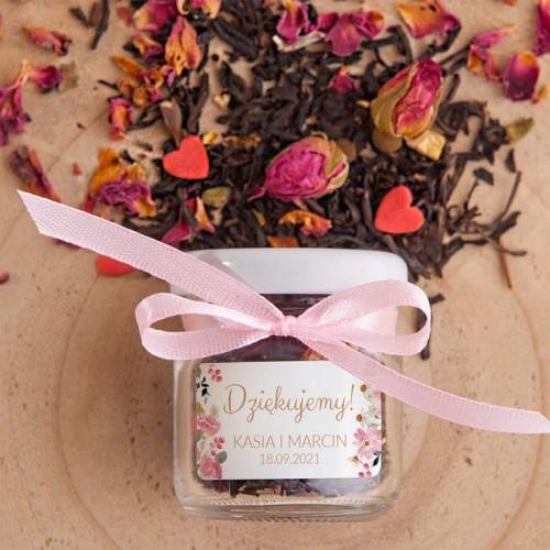 HERBATKA z płatkami róż w słoiczku Z IMIONAMI na ślub i wesele (wr)