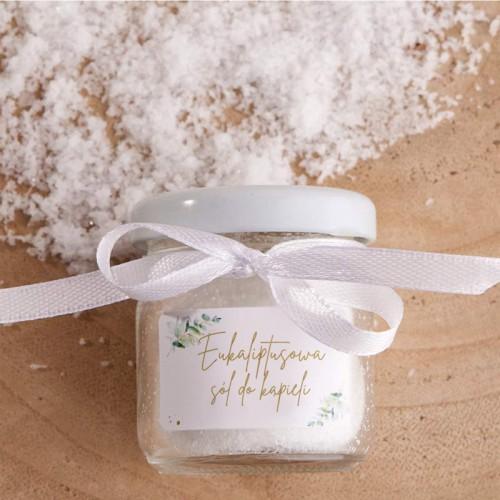 SÓL do kąpieli eukaliptusowa w słoiczku Z IMIONAMI na ślub i wesele (wb)