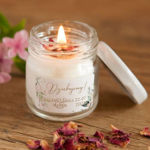 ŚWIECA sojowa podziękowanie Z IMIONAMI Pudrowe Kwiaty 100% Handmade