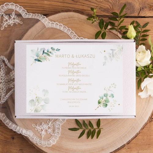 Prezent na ślub Kubki dla Pary Młodej w pudełku INICJAŁY