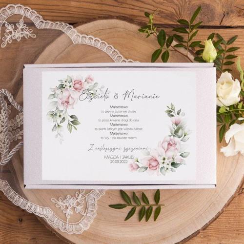 Prezent na ślub Kubki dla Pary Młodej Z IMIONAMI w pudełku Różowe Kwiaty