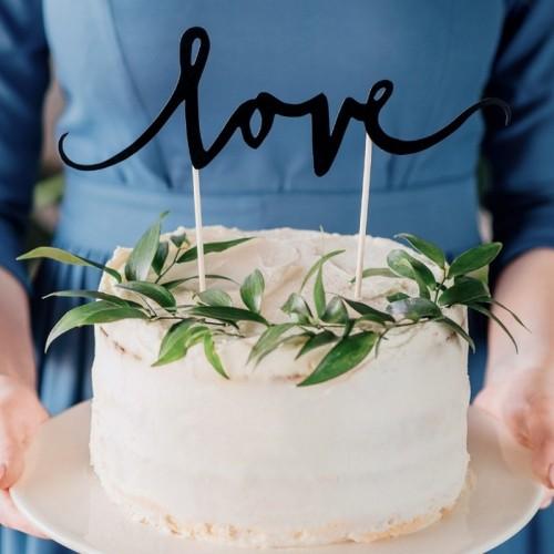 TOPPER na tort LOVE Czarny KONIEC SERII