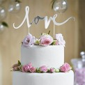 KONTUR dekoracyjny na tort LOVE Srebrny