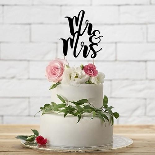 TOPPER na tort Mr&Mrs CZARNY