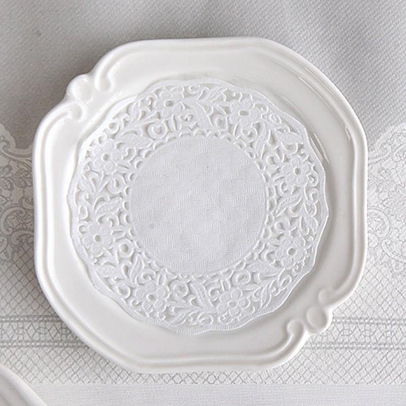 SERWETKI dekoracyjne pod szklanki Biała Koronka 11cm 100szt