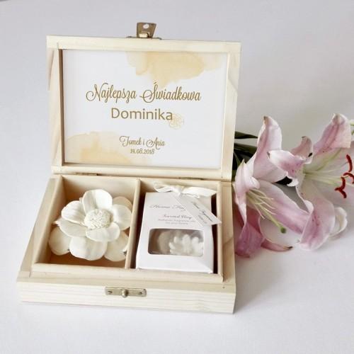 PREZENT dla Świadkowej w drewnianym pudełku Kremowa Delikatność