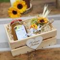 MIÓD dla Rodziców w drewnianej skrzyni Akwarelowe Słoneczniki MEGA ZESTAW