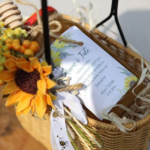 MIÓD dla Rodziców w wiklinowym nosidle z rączką Akwarelowe Słoneczniki