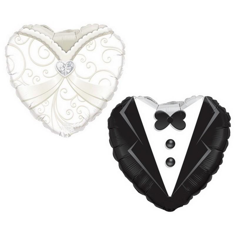 BALONY foliowe w kształcie serca Sukienka i Frak 46cm