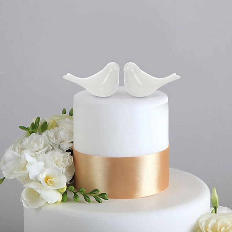 GOŁĄBKI ceramiczne do dekoracji tortu 2szt