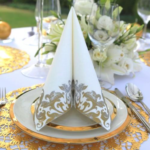 SERWETKI flizelinowe Złota Elegancja 40x40cm 60szt
